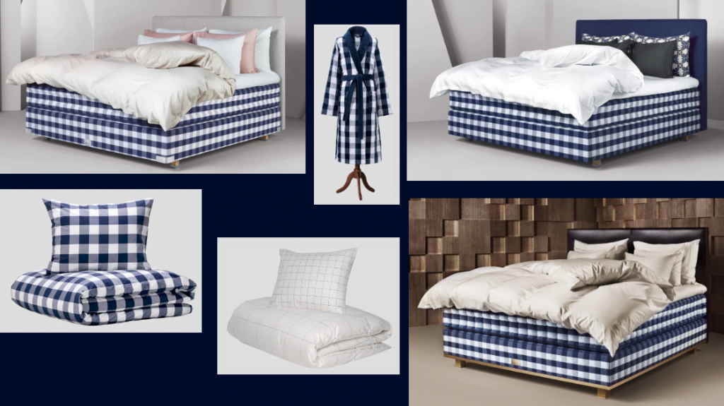 Hästens Iconic Blue Check 40th Anniversary Beds Package Accessories