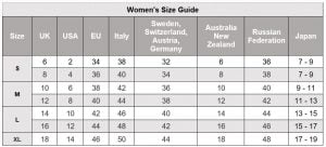 women's size guide international conversion