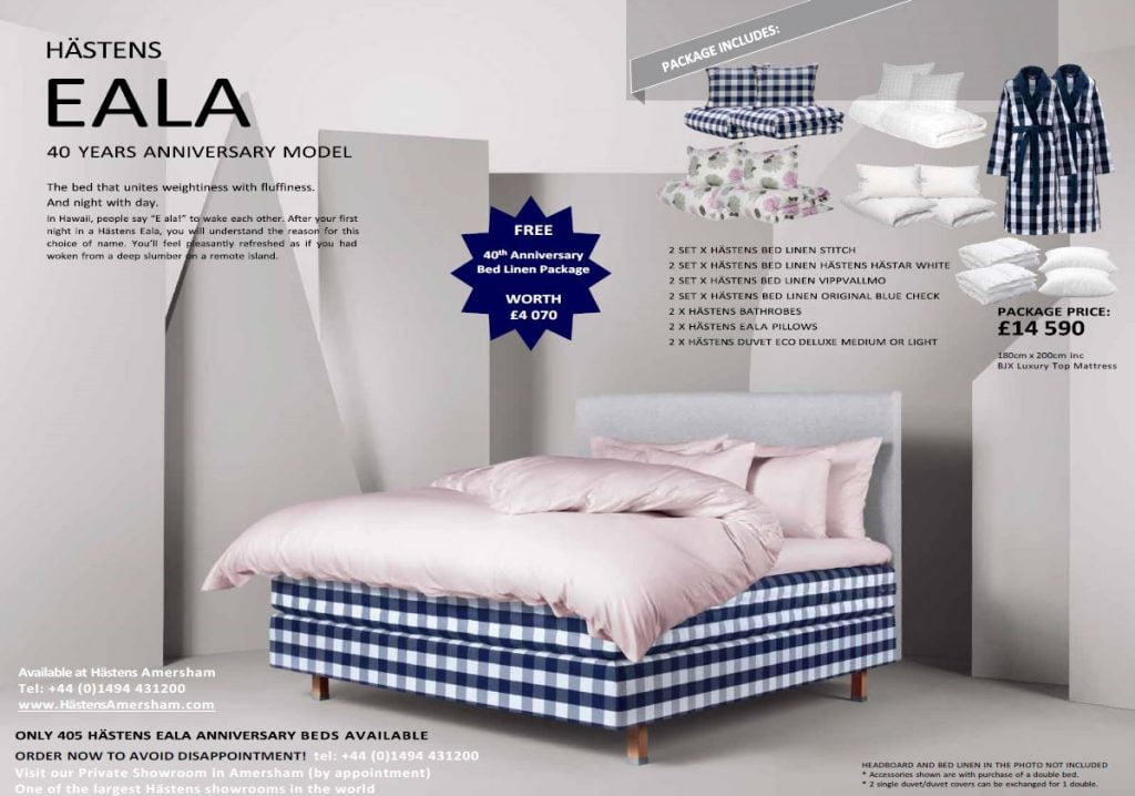 Hästens Iconic Blue Check 40th Anniversary Eala Bed