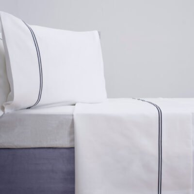 Egyptian Cotton Sateen 1000 thread count navy cord pillowcases and flate sheet